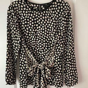 J Crew silk black/white polka dot bow top, Size 2